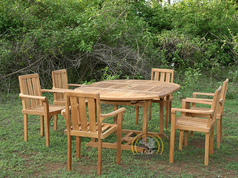 CLASSIC STACKING SET-OVAL DOUBLE EXTEND TABLE 120 CM