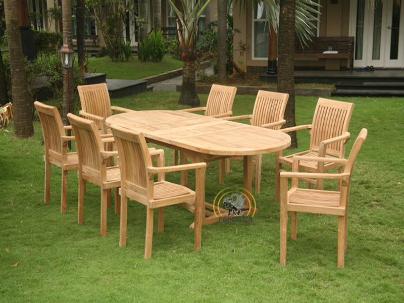 JEPARA STACKING SET-OVAL DOUBLE EXTEND TABLE 150 CM