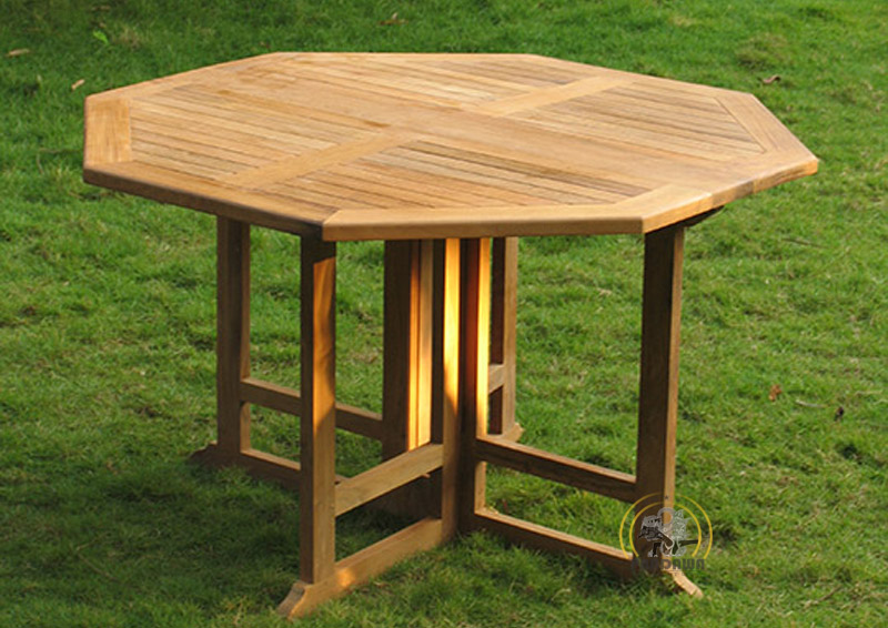 Octagonal gateleg table 120 cm pandawa furniture for Table carree 120 cm