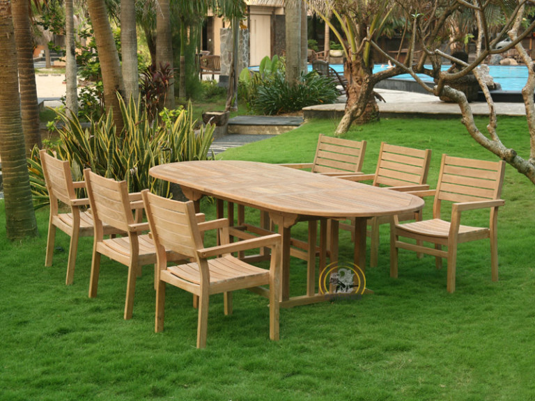 VALENCIA STACKNG ARM SET-OVAL DOUBLE EXTEND TABLE 150 CM